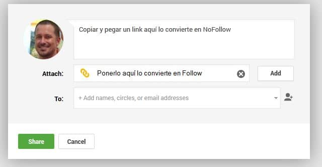 Google + nofollow