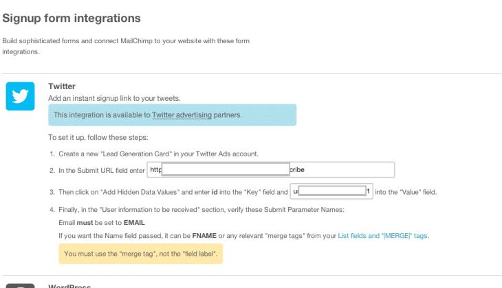 Integrar twitter card con mailchimp
