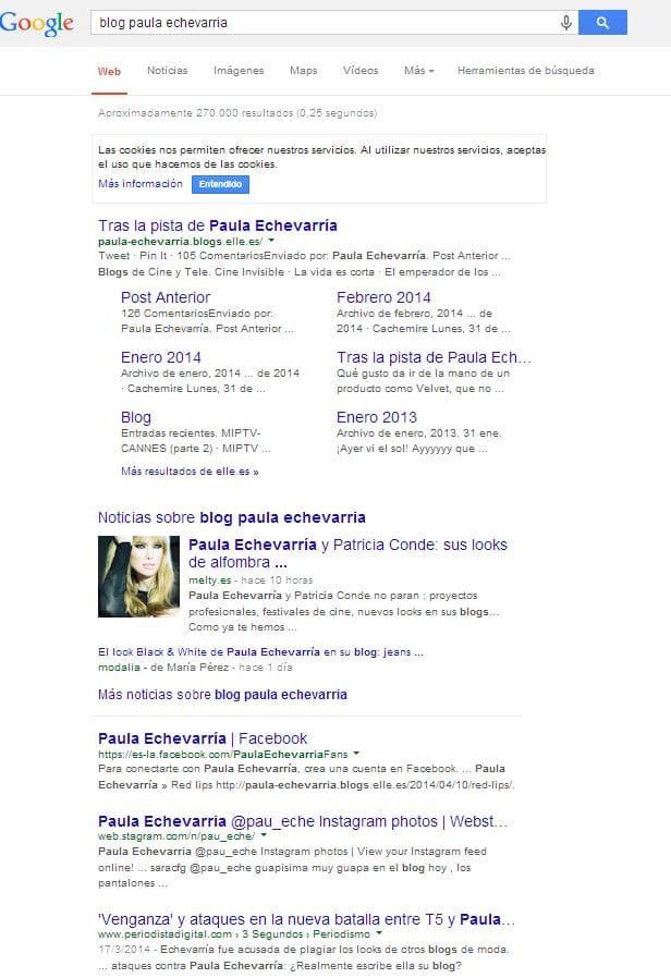 los resultados de google bajo paula echevarría