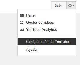 botón de configuración de Youtube