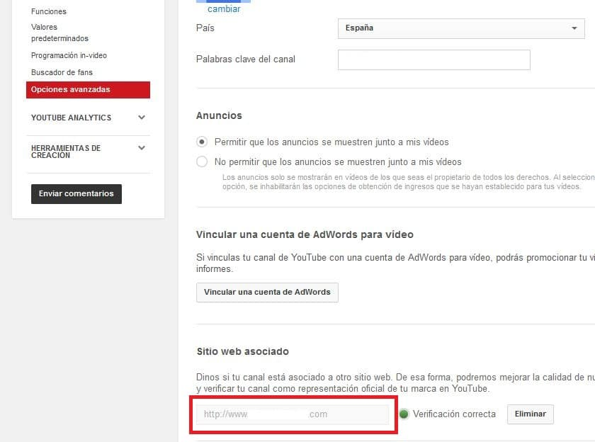 asociar la url a youtube