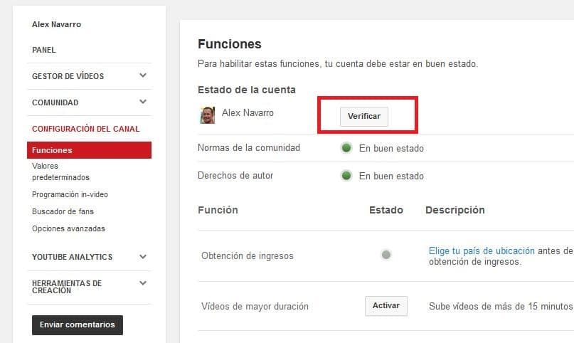 Verificar cuenta de video de Youtube