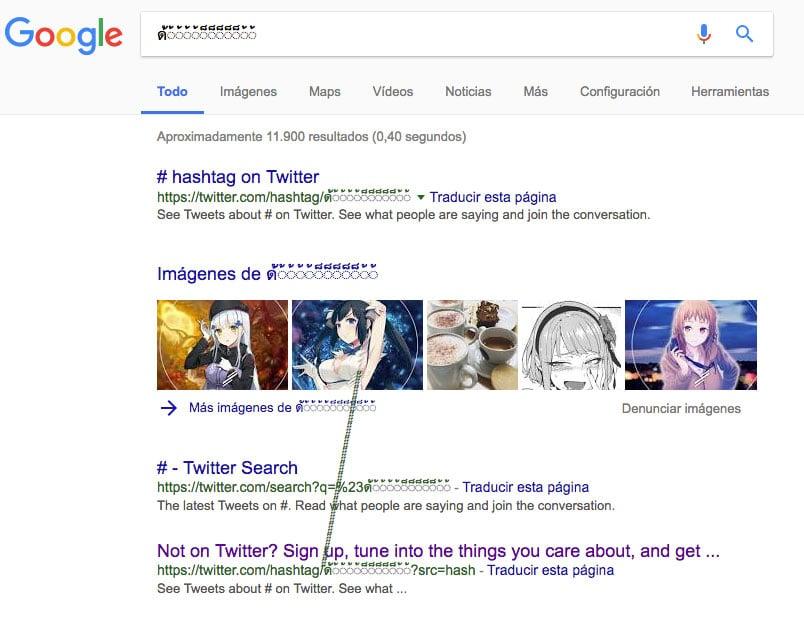 caracter raro japo bug google