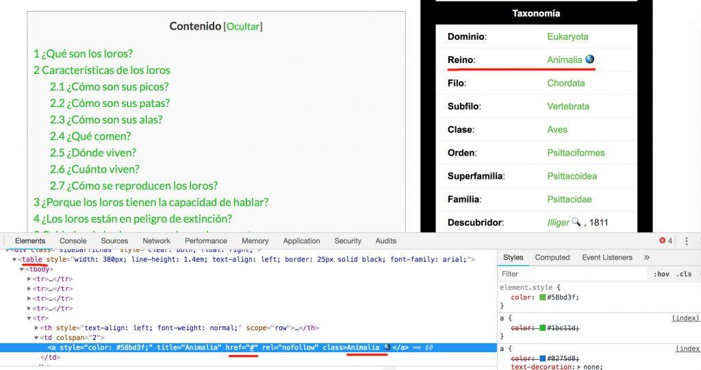 tablas html serps rotas